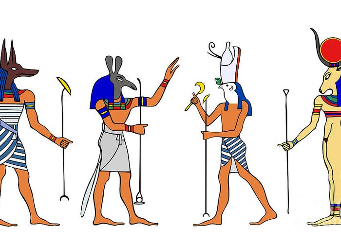 Relief Greeting Card featuring the drawing Egyptian Gods And Goddess by Michal Boubin