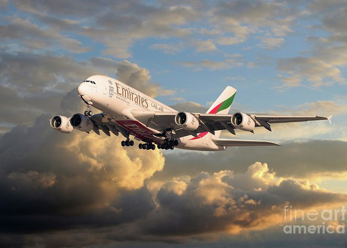 Emirates Greeting Card featuring the digital art Emirates Airbus A380 by J Biggadike