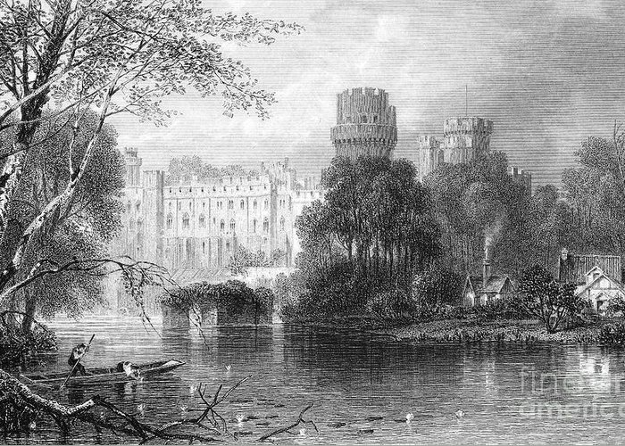 19th Century Greeting Card featuring the photograph England: Warwick Castle by Granger