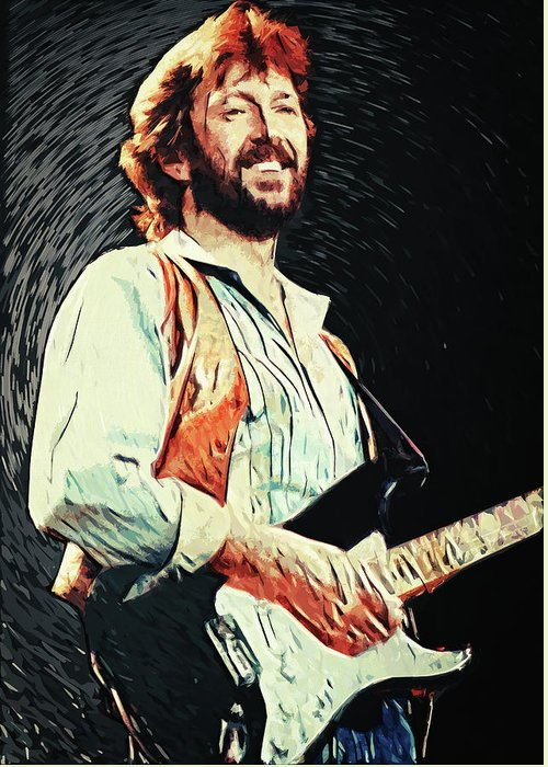 Eric Clapton Greeting Card featuring the digital art Eric Clapton by Zapista Zapista