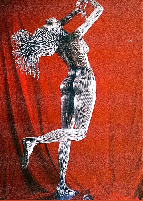 Nude Figure Greeting Card featuring the sculpture Evolution Of Eve Figure 2 by Greg Coffelt