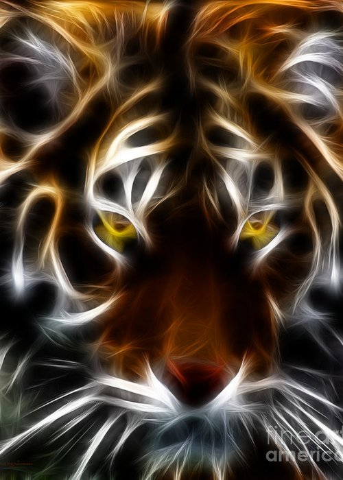Animal Greeting Card featuring the photograph Eye Of The Tiger by Wingsdomain Art and Photography