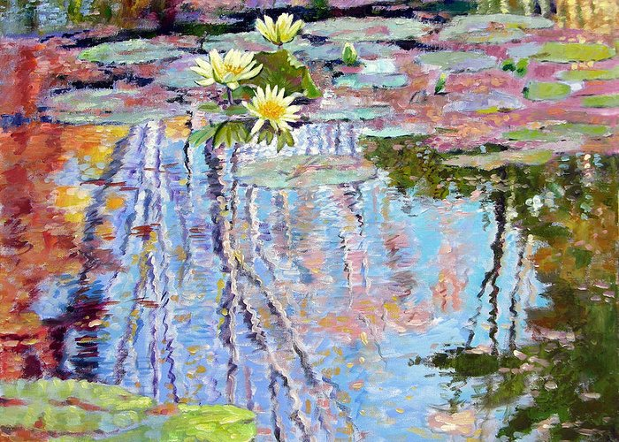 Garden Pond Greeting Card featuring the painting Fall Reflections by John Lautermilch