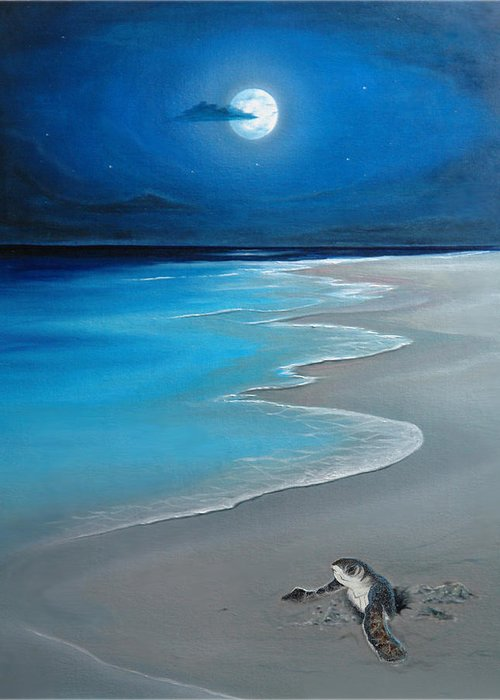 Seascape Art Greeting Card featuring the painting First Born by Angel Ortiz