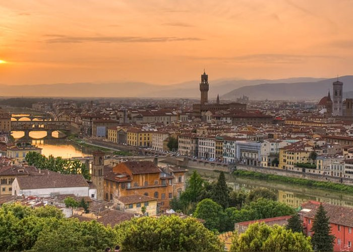 Florence Greeting Card featuring the photograph Florence Sunset by Mick Burkey