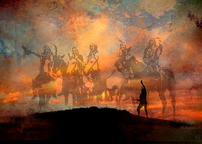 Native Americans Greeting Card featuring the painting Forefathers by Paul Sachtleben