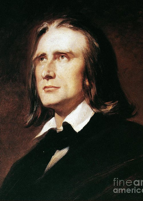 19th Century Greeting Card featuring the photograph Franz Liszt (1811-1886) by Granger