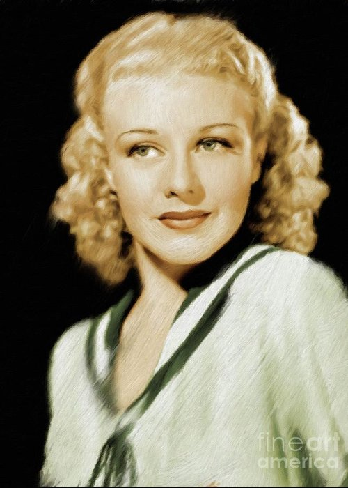 Ginger Greeting Card featuring the painting Ginger Rogers, Legend by Mary Bassett