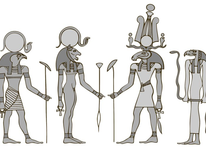 Apis Greeting Card featuring the digital art Gods Of Ancient Egypt by Michal Boubin