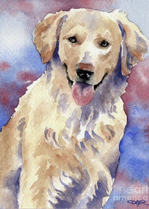 Golden Greeting Card featuring the painting Golden Retriever by David Rogers