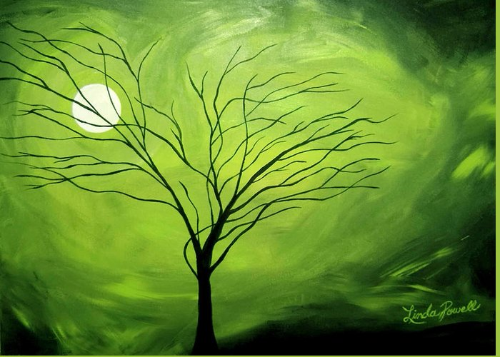 Abstract Acrylic Landscape Green Tree Moon Movement Greeting Card featuring the painting Green Night I by Linda Powell