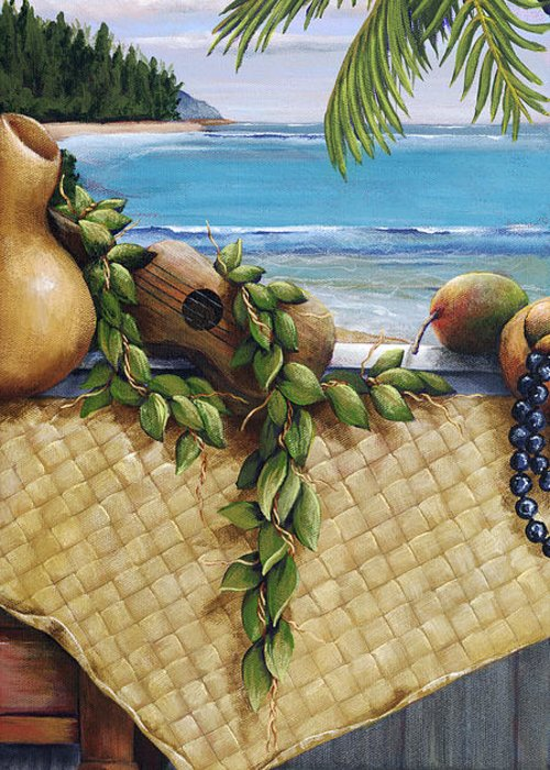 Acrylic Greeting Card featuring the painting Hawaiian Still Life Panel by Sandra Blazel - Printscapes