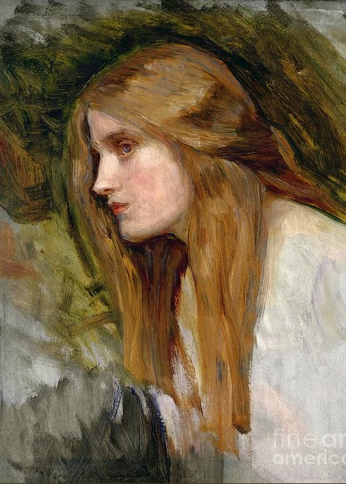 Head Greeting Card featuring the painting Head Of A Girl by John William Waterhouse