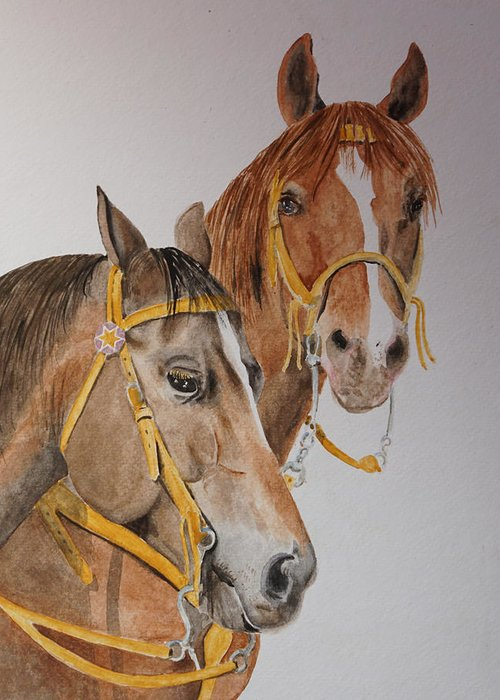 Horse Greeting Card featuring the painting 2 Horses by Gary Thomas