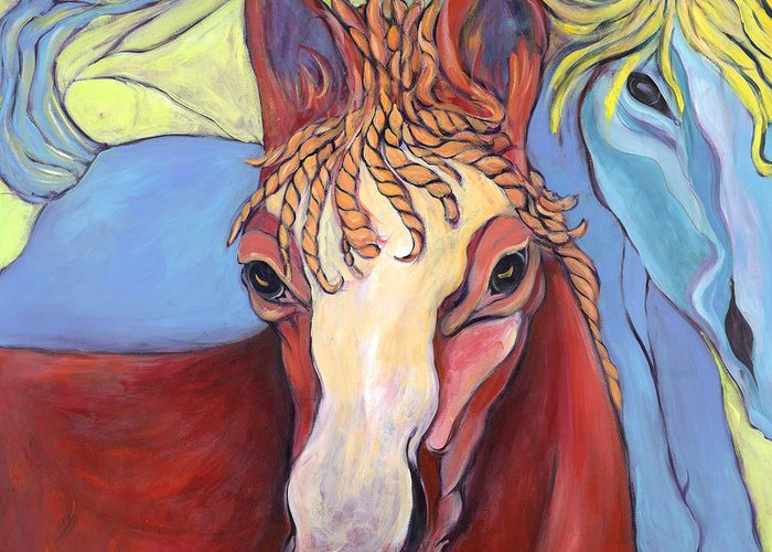 Horse Paintings Greeting Card featuring the painting 2 Horses by Michelle Spiziri