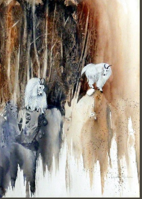 Mt. Goats Greeting Card featuring the painting Its Not That Far by Lynne Parker