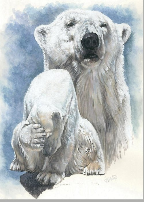 Polar Bear Greeting Card featuring the mixed media Ivory by Barbara Keith