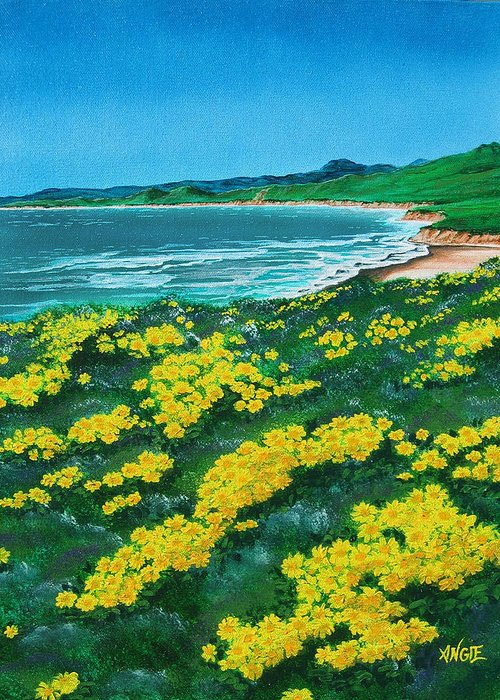 Jalama Greeting Card featuring the painting Jalama Beach by Angie Hamlin