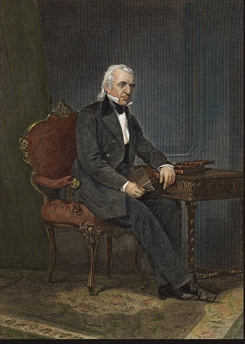 19th Century Greeting Card featuring the photograph James Knox Polk (1795-1849) by Granger