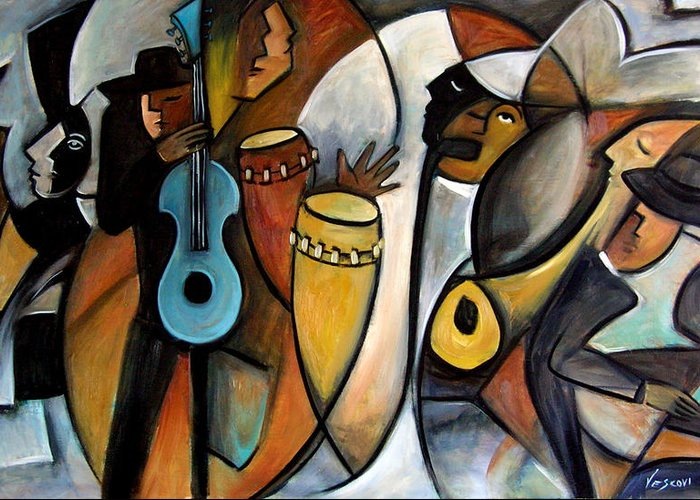 Latin Jazz Musicians Greeting Card featuring the painting Jazzz by Valerie Vescovi