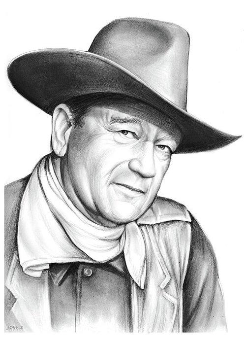 John Wayne Greeting Card featuring the drawing John Wayne by Greg Joens