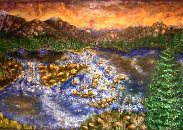 Lake Greeting Card featuring the painting Lake Succession by Tanna Lee M Wells