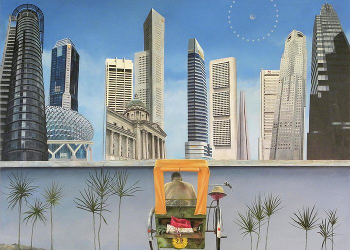 Singapore Greeting Card featuring the painting Last Dim Sum In Singapore by Riccardo Alone