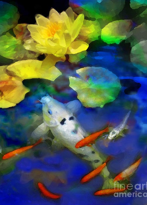 Koi Greeting Card featuring the photograph Last Rays Of The Sun by Gina Signore