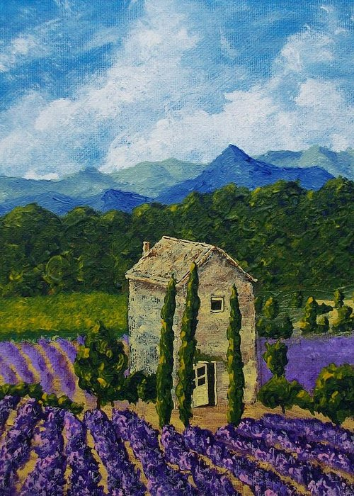 Art & Collectibles Painting Acrylic Provence France Mediterranean Art French Countryside Landscape Painting Lavender Fields Mountain Scenery Hillside Painting Tree Artwork Purple Home Decor Modern Green Design Yellow Artwork Blue Modern Design Bright Painting Greeting Card featuring the painting Lavender Farm by Mike Kraus