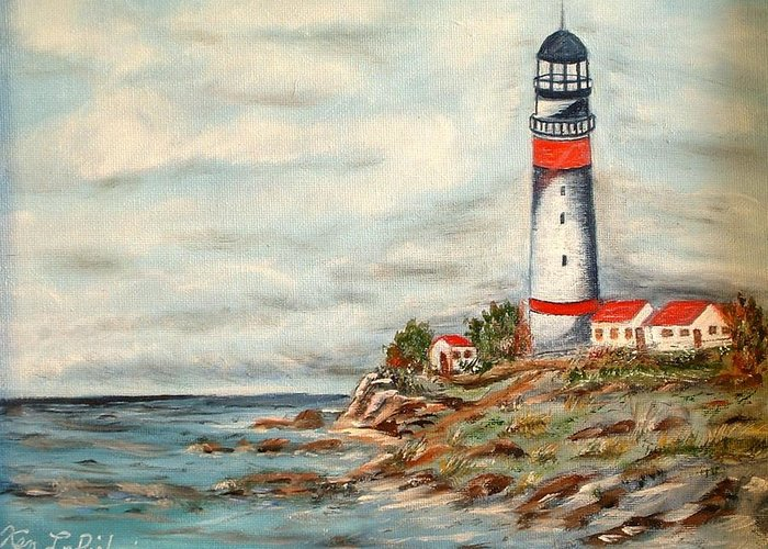 Lighthouse Ocean Houses Rocks Greeting Card featuring the painting Lighthouse 2 by Kenneth LePoidevin