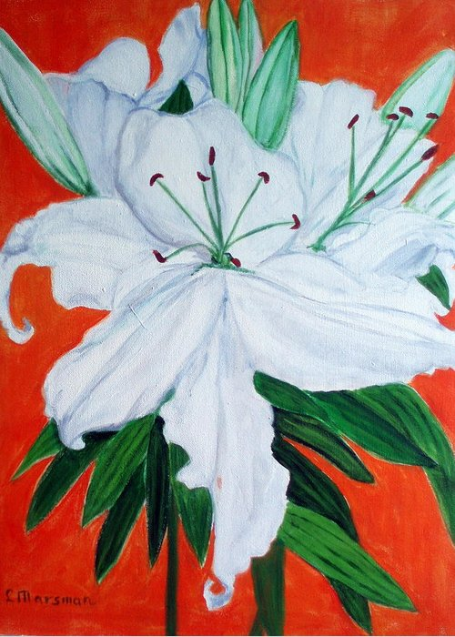 Flowers Greeting Card featuring the painting Lily On Red by Lia Marsman