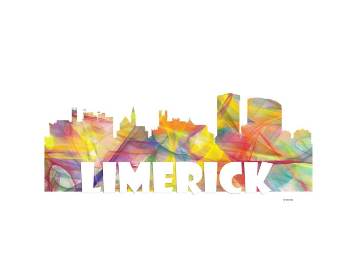 Limerick Ireland Skyline Greeting Card featuring the digital art Limerick Ireland Skyline by Marlene Watson