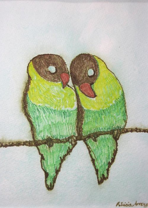 Birds Greeting Card featuring the painting Love Birds by Patricia Arroyo