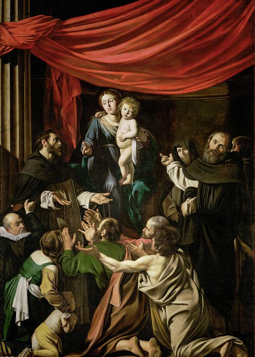 Amerighi Greeting Card featuring the painting Madonna Of The Rosary by Caravaggio