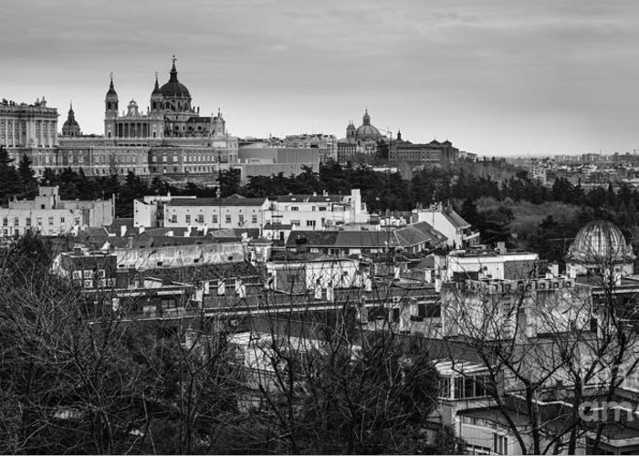 Spain Greeting Card featuring the photograph Madrid Panorama From Debod Lookout Madrid Spain by Pablo Avanzini