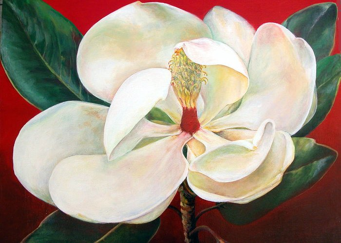 Floral Painting Greeting Card featuring the painting Magnolia by Muriel Dolemieux