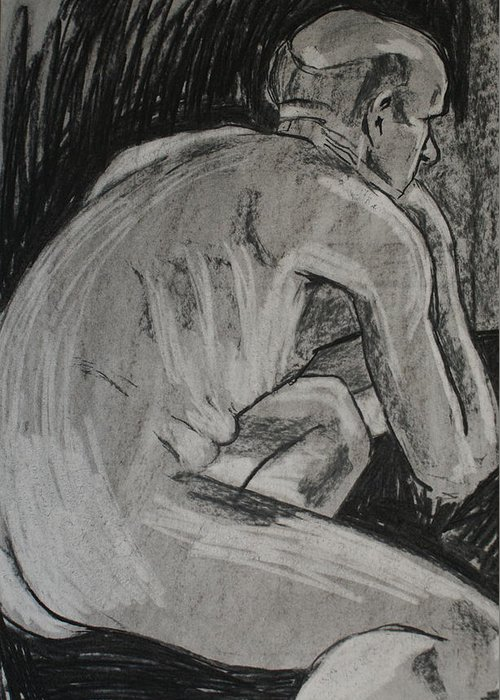 Male Greeting Card featuring the drawing Male Nude by Joanne Claxton