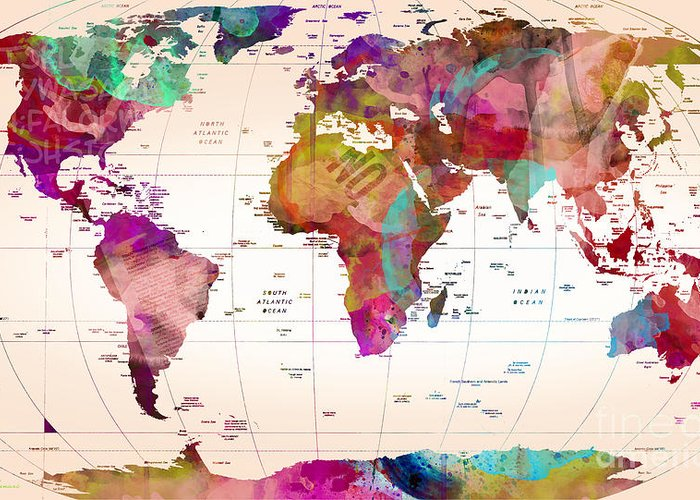 World Digital Map Greeting Cards