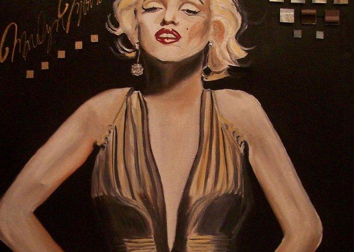 Portrait Of Marilyn Monroe Paintings Greeting Card featuring the painting Marilyn Monroe by Mikayla Ziegler