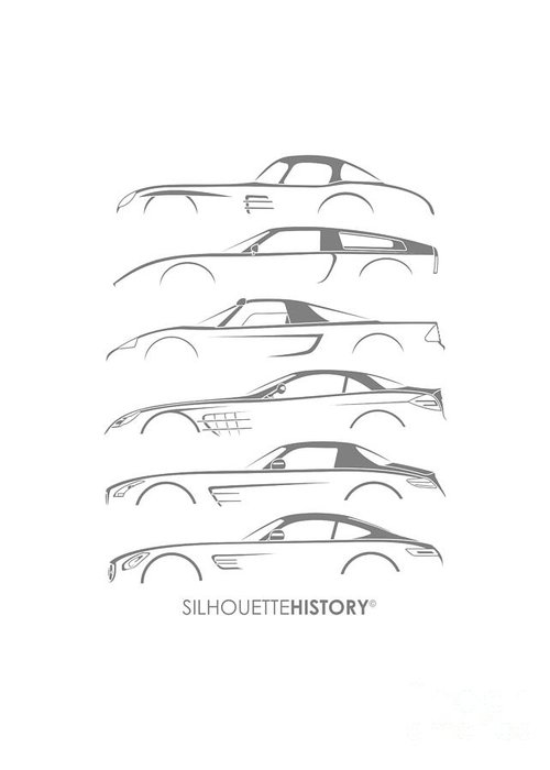 German Cars Greeting Card featuring the digital art Mercy Sports Car Silhouettehistory by Gabor Vida