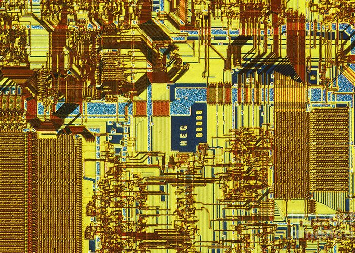 Chip Greeting Card featuring the photograph Microprocessor by Michael W. Davidson