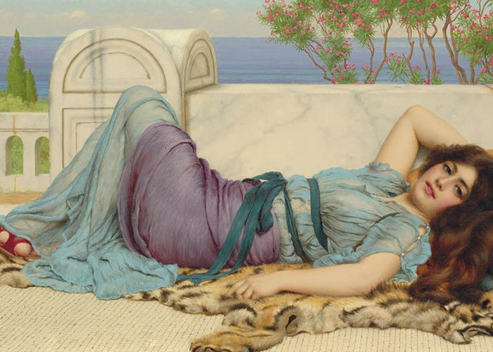 Mischief And Repose Greeting Card featuring the painting Mischief And Repose by John William Godward