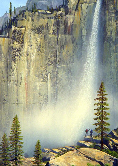 Landscape Greeting Card featuring the painting Misty Falls by Frank Wilson