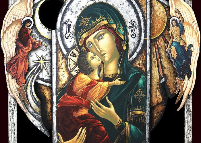 Icon Byzantine Religious Art Gold Leaf Traditional Orthodox Christian Eastern European Burn Wood Decoration Gift Resurrection Salvation Death Angel Heaven Hell Greeting Card featuring the painting Mother Of God by Iosif Ioan Chezan