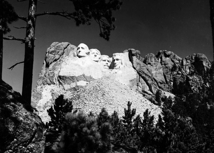 1930s Greeting Card featuring the photograph Mount Rushmore by Granger