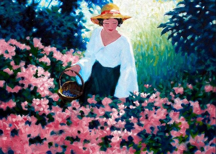 Woman Greeting Card featuring the painting Mulberry Time by Kevin Lawrence Leveque