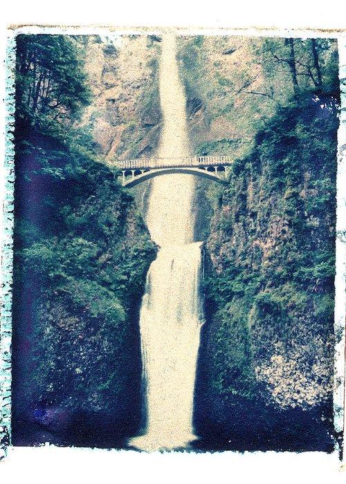 Polaroid Image Transfer Greeting Card featuring the photograph Multnoma Falls by Joe Palermo