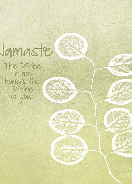 Namaste Greeting Card featuring the mixed media Namaste by Linda Woods