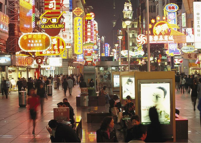 Asia Greeting Card featuring the photograph Neon Signs In Nanjing Lu, Shanghais by Justin Guariglia