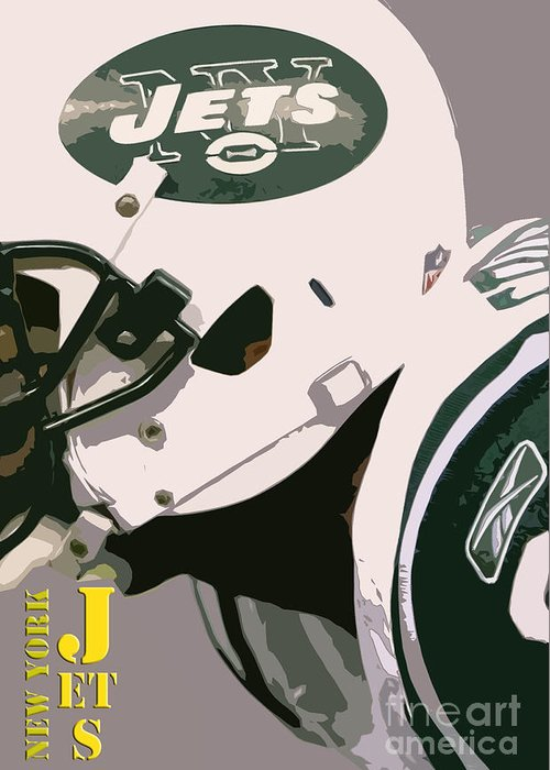 New York Greeting Card featuring the photograph New York Jets Football Team And Original Typography by Drawspots Illustrations